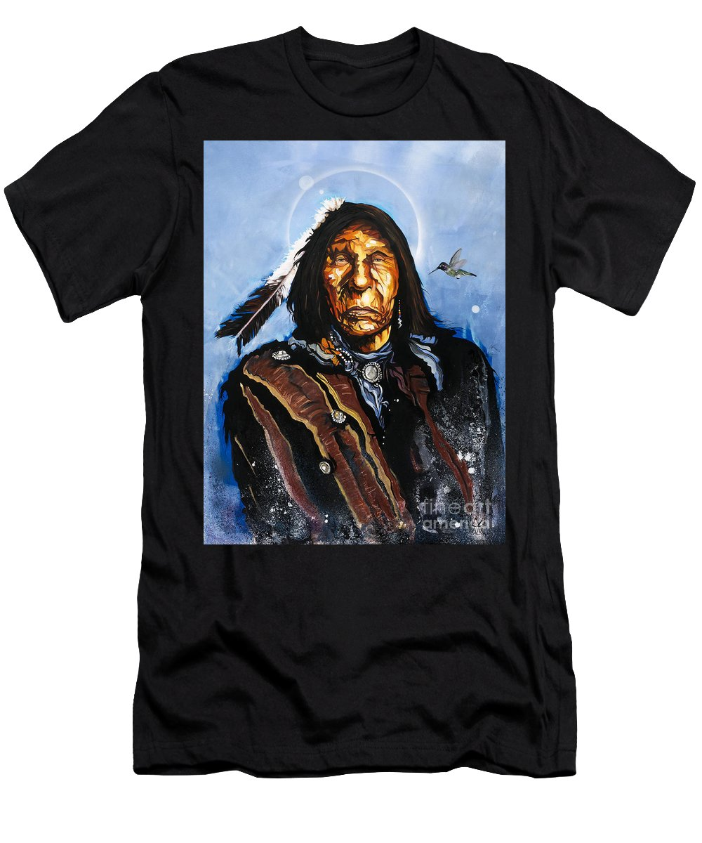 Southwest Art T-Shirt featuring the painting The Hummingbird Shaman by J W Baker
