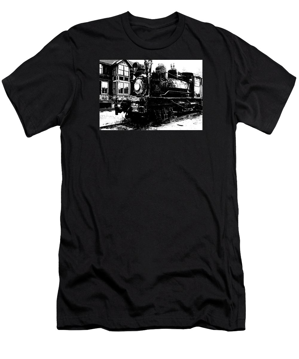 The Hurricane Express Homage 19th Century Locomotive Ghost Town Nevada City Montana Mascot Serial John Wayne Charles King Black And White High Contrast Rr Station Men's T-Shirt (Athletic Fit) featuring the photograph The Hurricane Express Homage 1932 19th Century Locomotive Ghost Town Nevada City Montana by David Lee Guss
