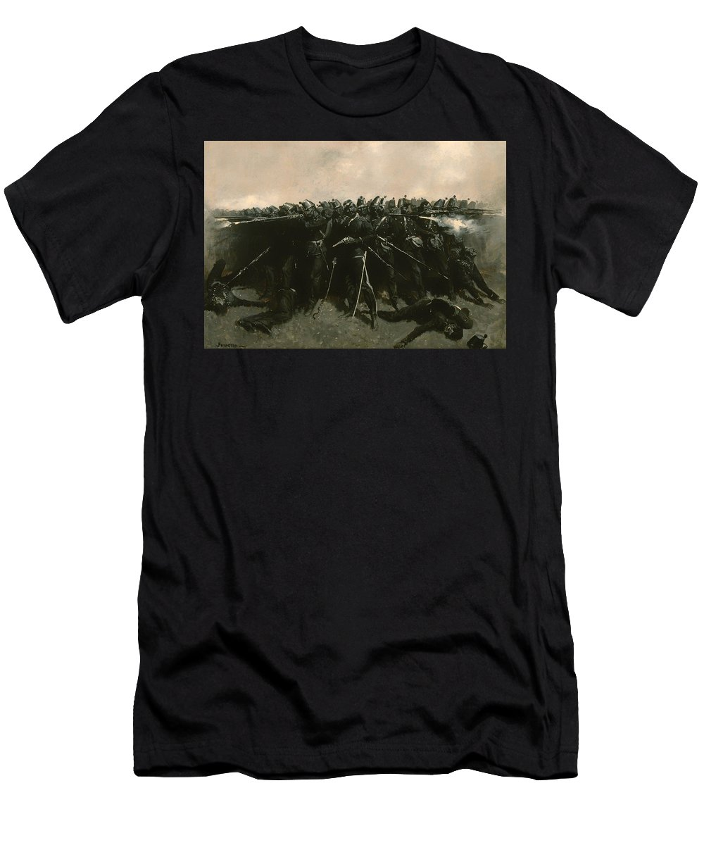 Painting Men's T-Shirt (Athletic Fit) featuring the painting The Infantry Square by Mountain Dreams
