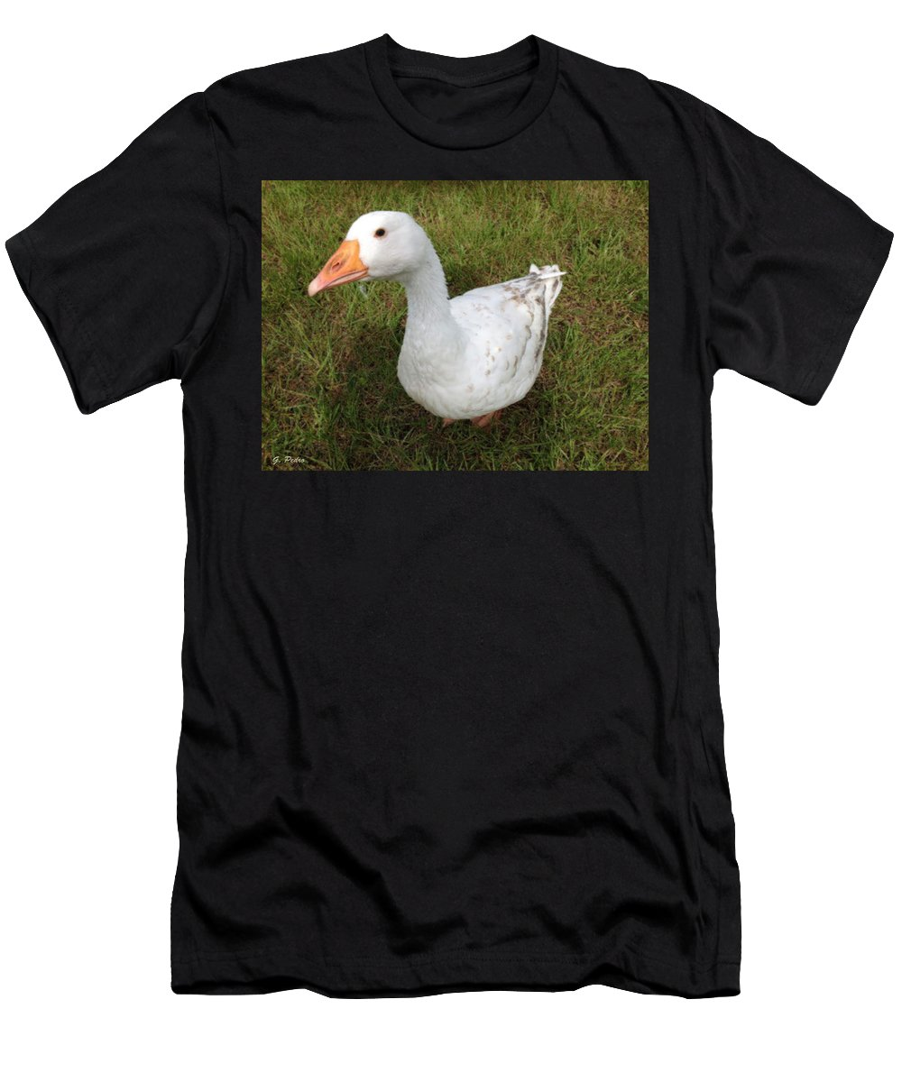 Goose Men's T-Shirt (Athletic Fit) featuring the painting The Inquisitive Goose by George Pedro