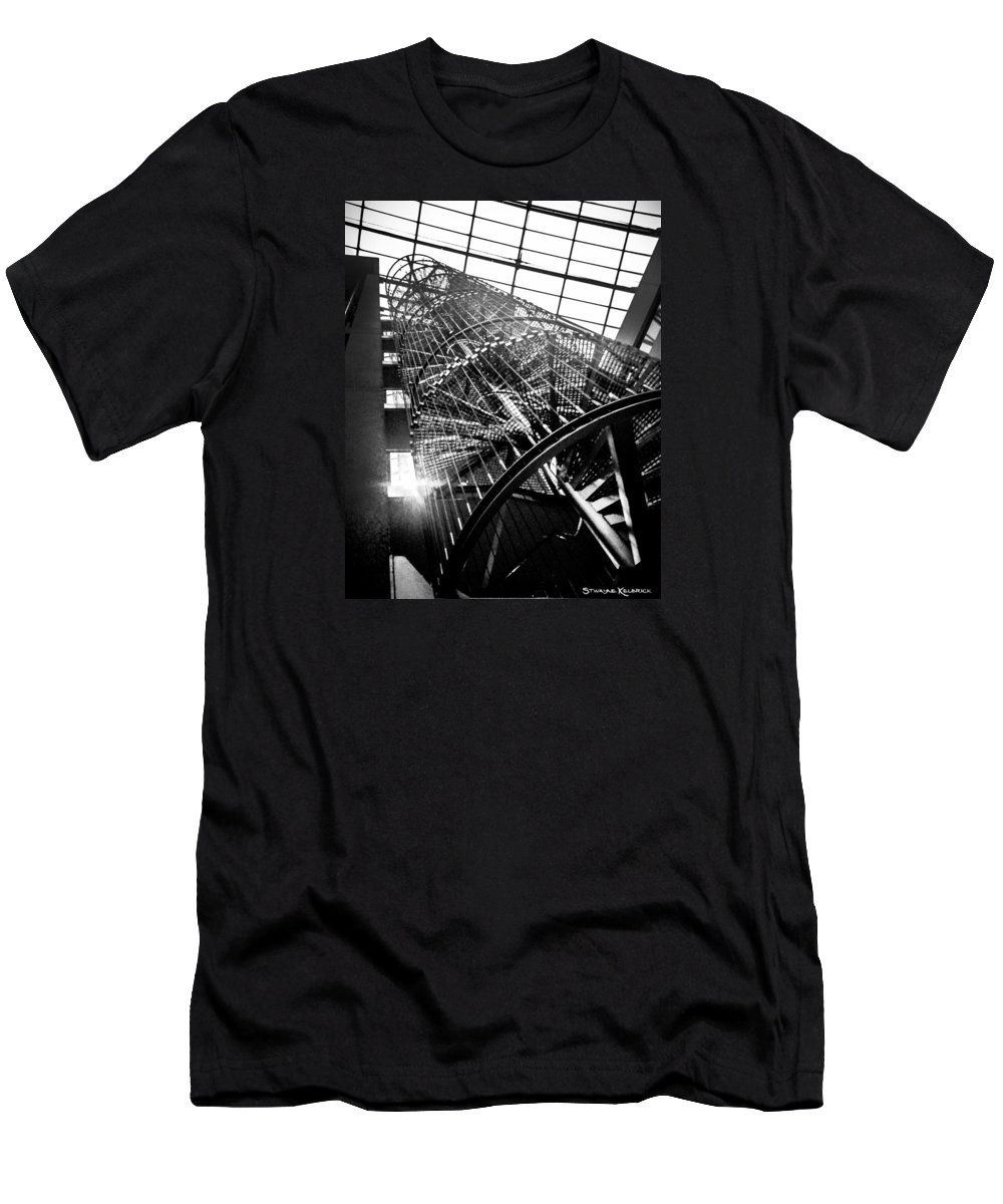 Architecture Men's T-Shirt (Athletic Fit) featuring the photograph The Iron Hell Stairs by Stwayne Keubrick