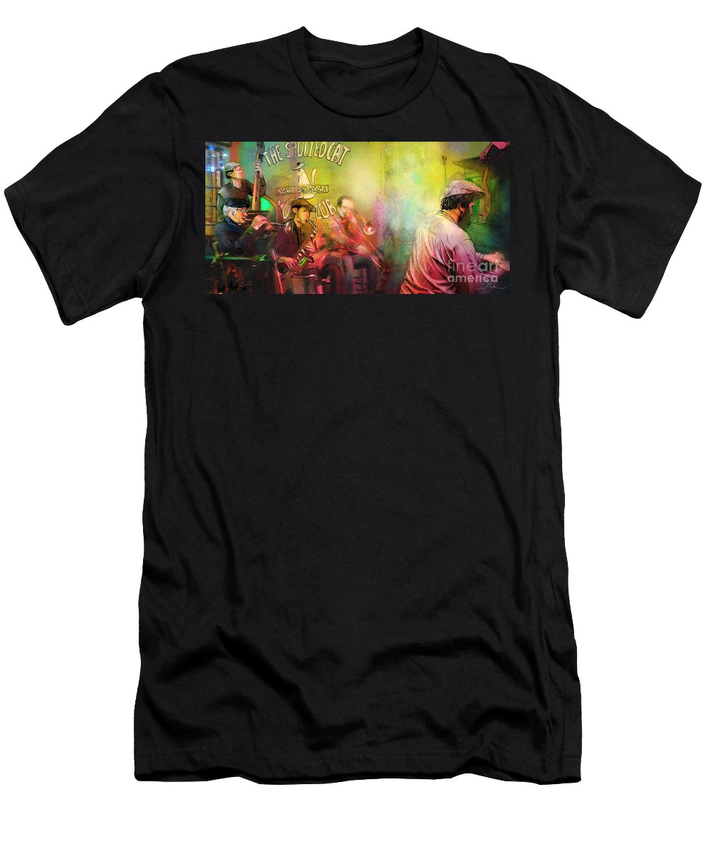 Music Men's T-Shirt (Athletic Fit) featuring the painting The Jazz Vipers In New Orleans 03 by Miki De Goodaboom