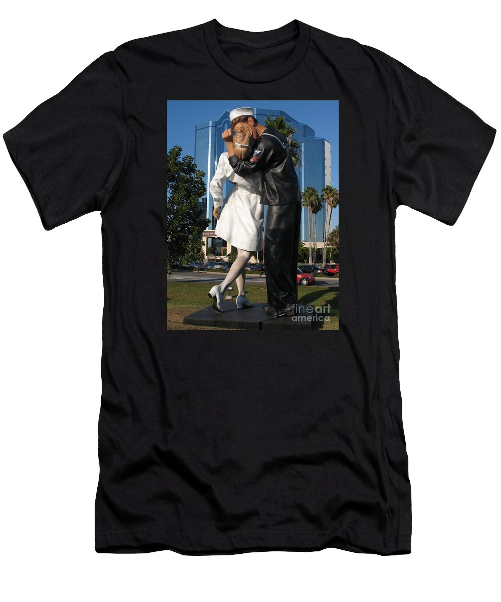 Sailor Men's T-Shirt (Athletic Fit) featuring the photograph The Kiss - Sailor And Nurse - Sarasota by Christiane Schulze Art And Photography