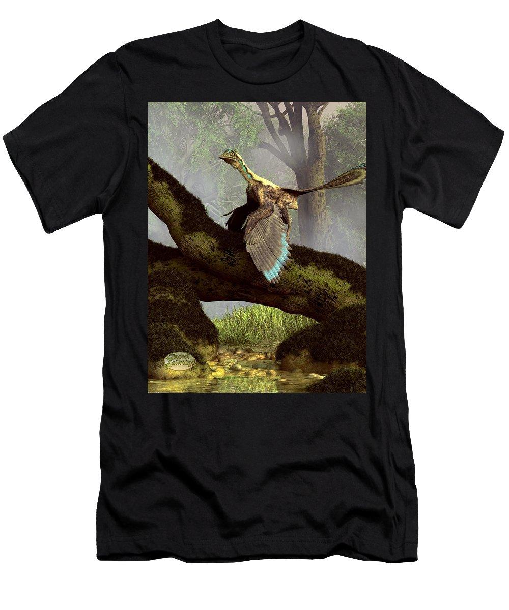 Archaeopteryx Men's T-Shirt (Athletic Fit) featuring the digital art The Last Dinosaur by Daniel Eskridge