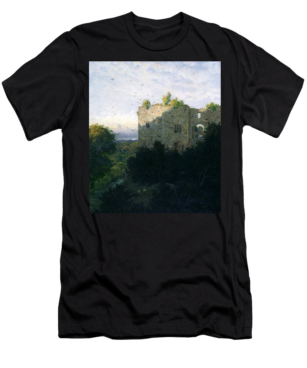Ruin Men's T-Shirt (Athletic Fit) featuring the painting The Last Gleam by Walter Fryer Stocks