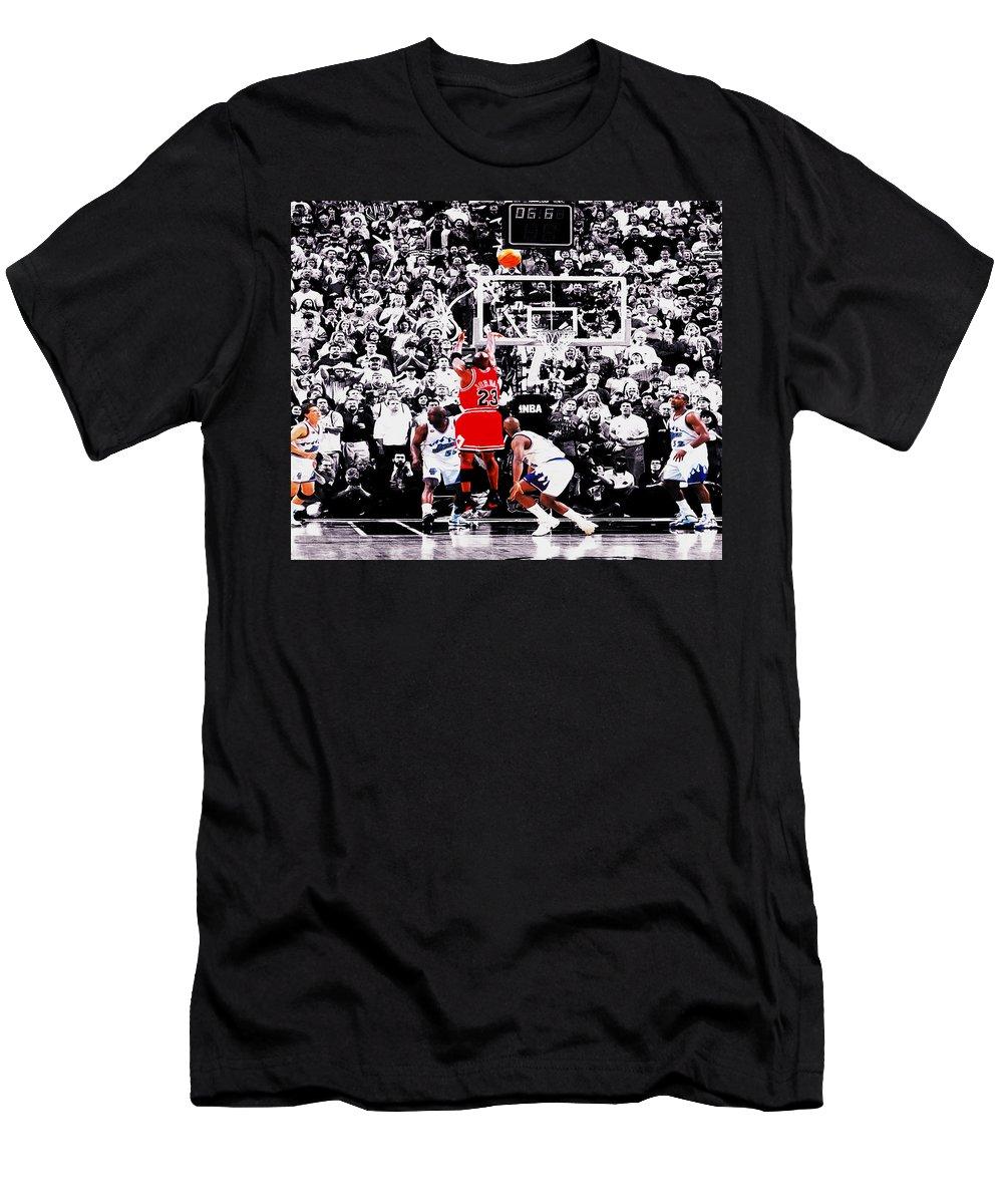 Michael Jordan Men's T-Shirt (Athletic Fit) featuring the digital art The Last Shot by Brian Reaves