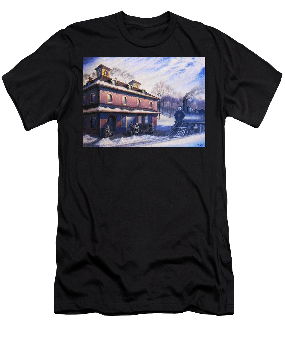 Railroad Men's T-Shirt (Athletic Fit) featuring the painting The Last Station by Raffi Jacobian