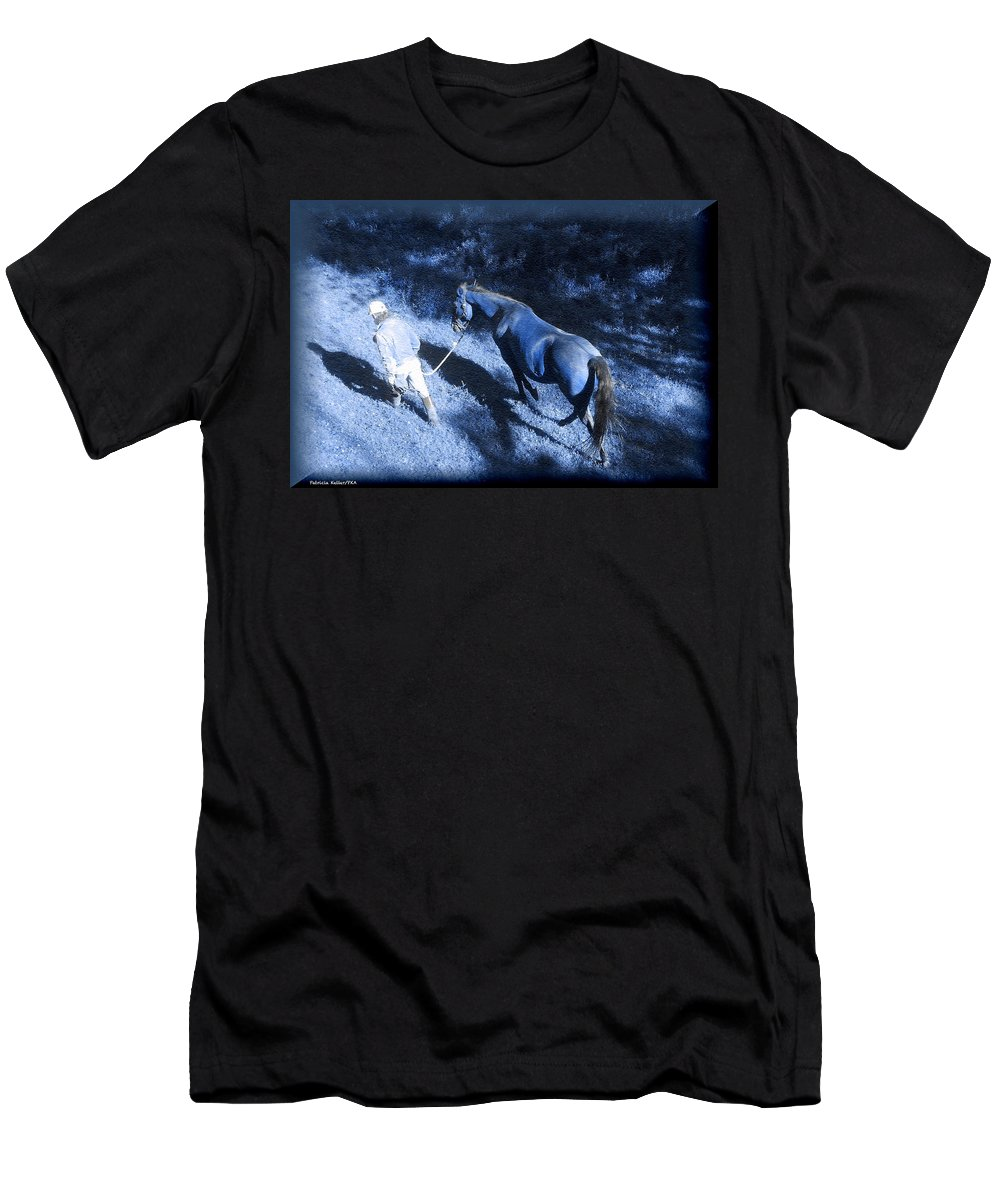 Blue Light Men's T-Shirt (Athletic Fit) featuring the photograph The Light And Shadows Of A Man And His Horse by Patricia Keller