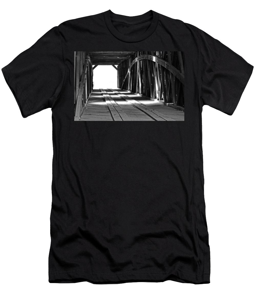 Light Men's T-Shirt (Athletic Fit) featuring the photograph The Light At The End Of The Bridge by Holly Blunkall