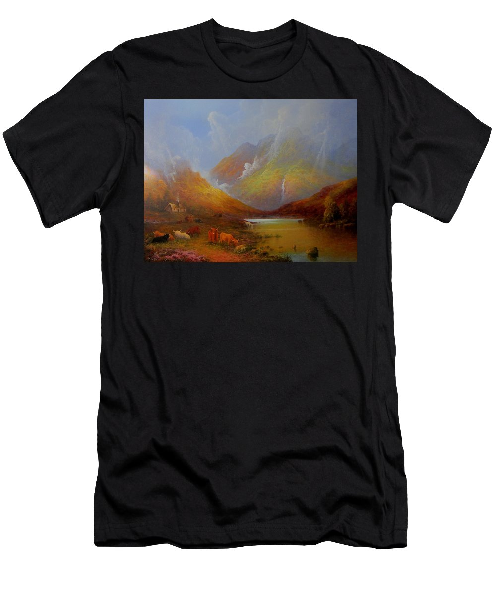 Original Fine Art Men's T-Shirt (Athletic Fit) featuring the painting The Little Croft On The Isle Of Skye Scotland by Ray Gilronan