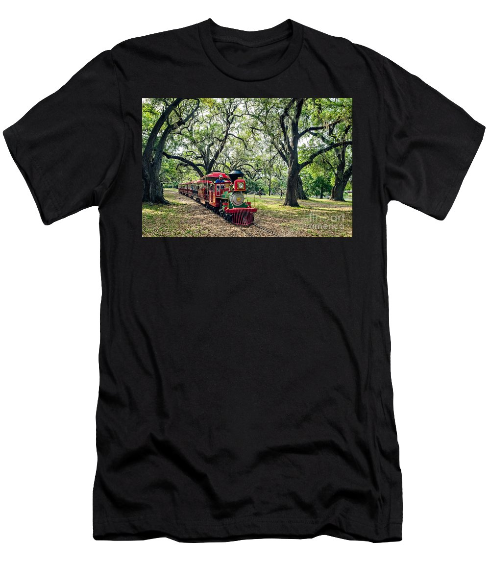 Train Men's T-Shirt (Athletic Fit) featuring the photograph The Little Engine That Could - City Park New Orleans by Kathleen K Parker