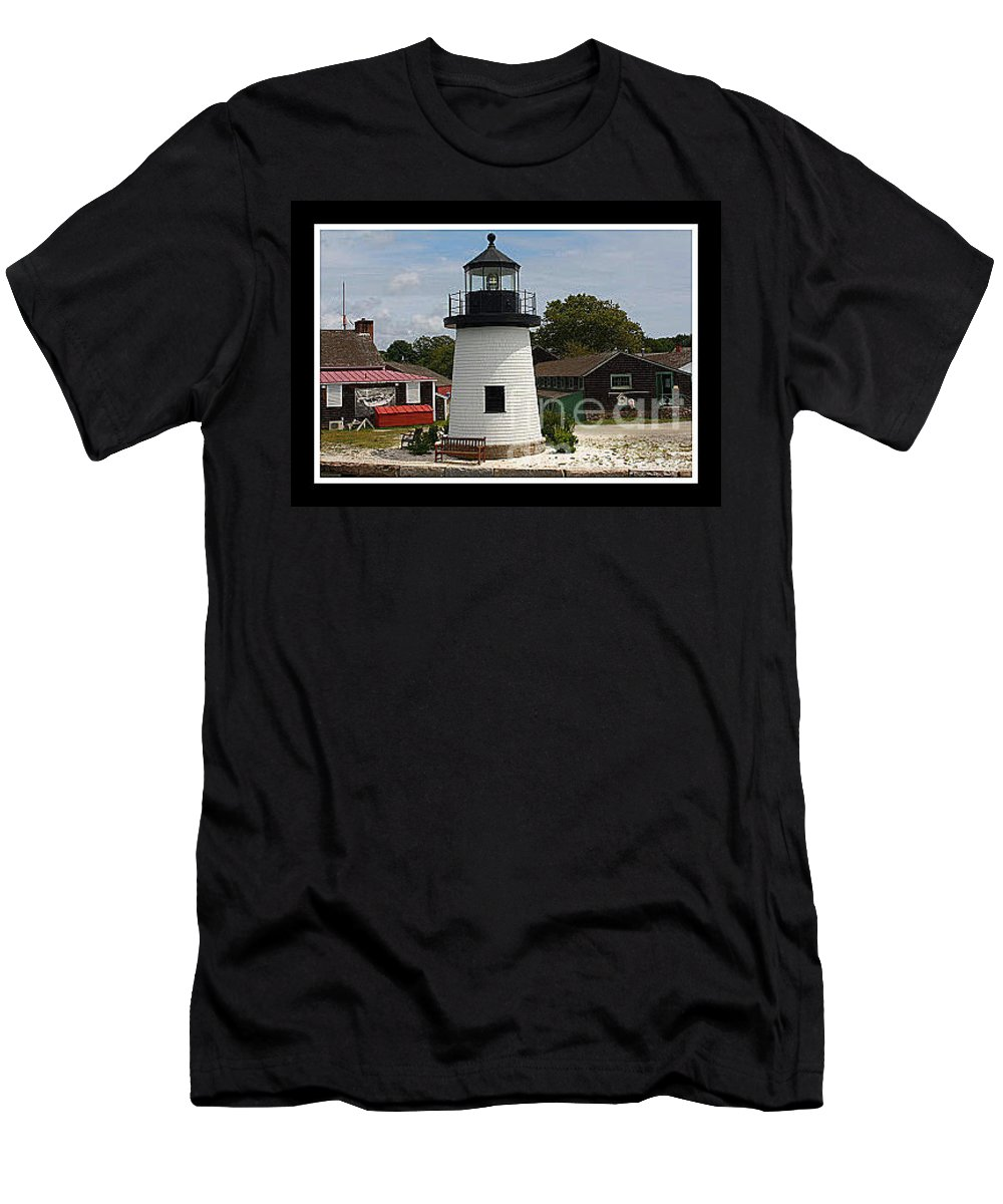 Mystic Men's T-Shirt (Athletic Fit) featuring the photograph The Little Lighthouse At Mystic by Dora Sofia Caputo Photographic Design and Fine Art