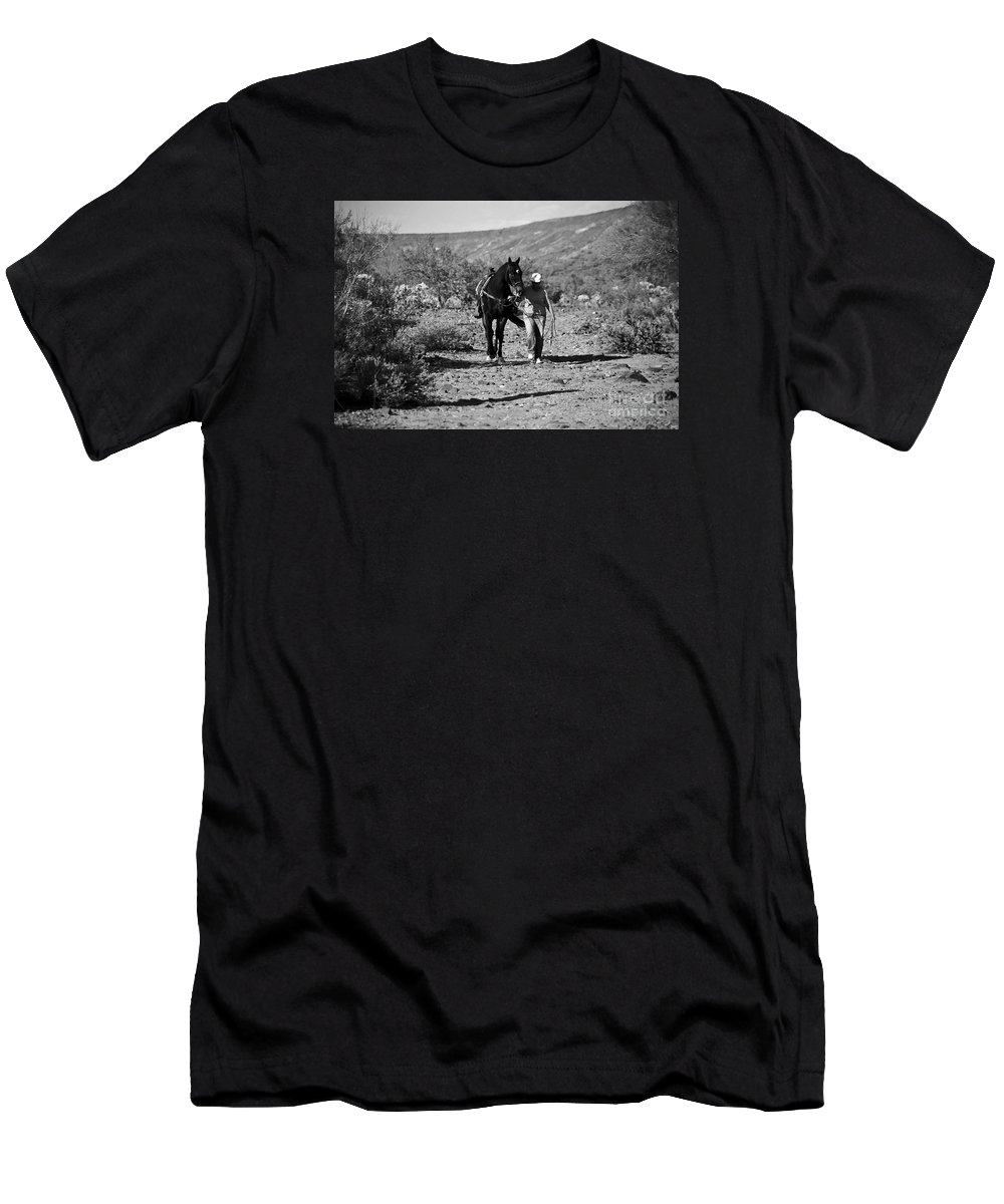Horse Men's T-Shirt (Athletic Fit) featuring the photograph The Lost Shoe by Kathy McClure