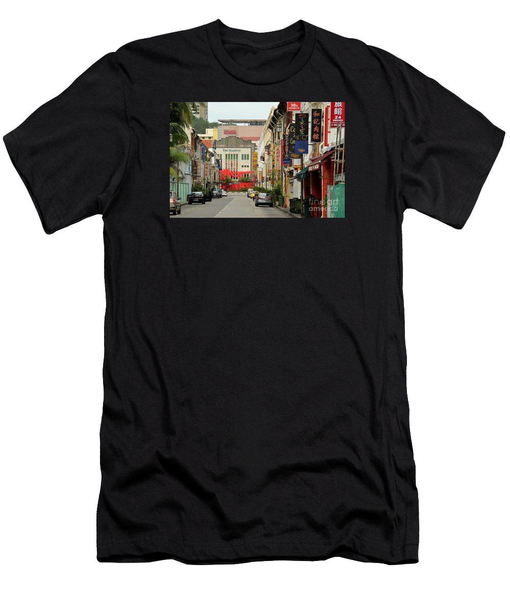 Majestic Men's T-Shirt (Athletic Fit) featuring the photograph The Majestic Theater Chinatown Singapore by Imran Ahmed