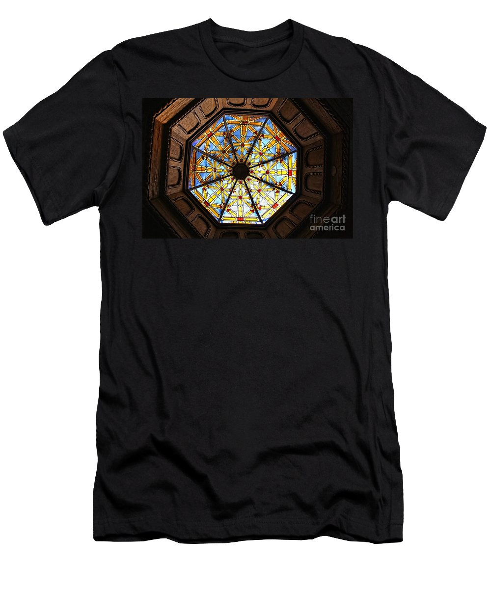 Mission Inn Men's T-Shirt (Athletic Fit) featuring the photograph The Mission Inn Looking Up by Tommy Anderson