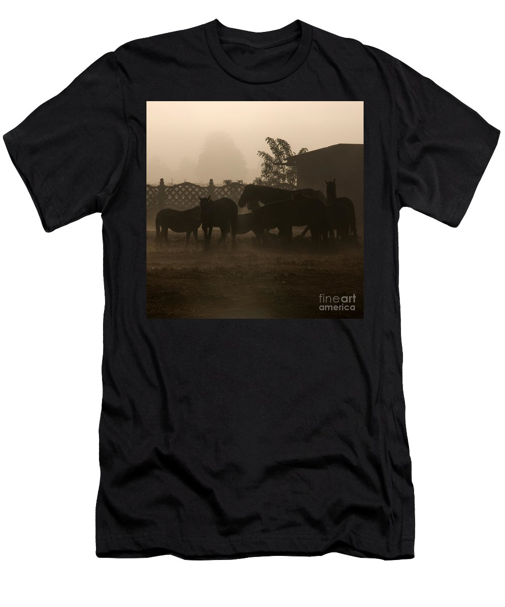 Misty Morning Men's T-Shirt (Athletic Fit) featuring the photograph The Misty Morning by Angel Ciesniarska