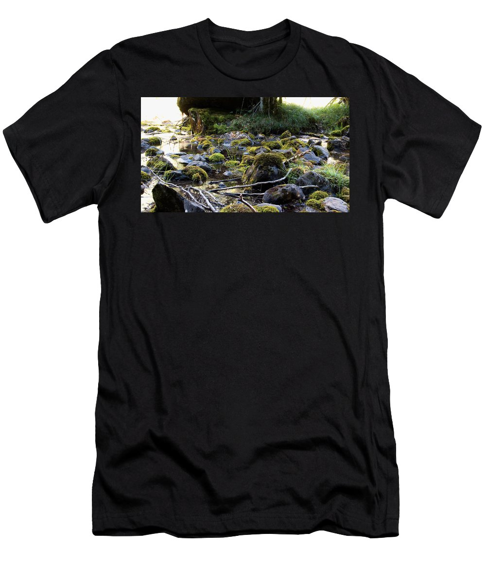 River Men's T-Shirt (Athletic Fit) featuring the photograph The Moss In The River Stones by Weston Westmoreland