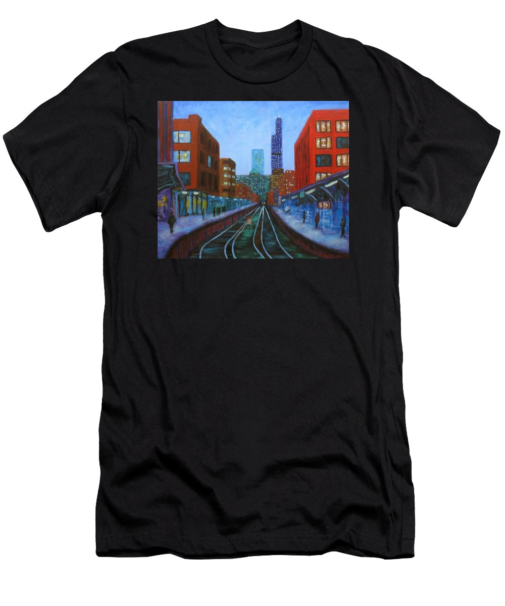 Chicago Art Men's T-Shirt (Athletic Fit) featuring the painting The Next Train by J Loren Reedy
