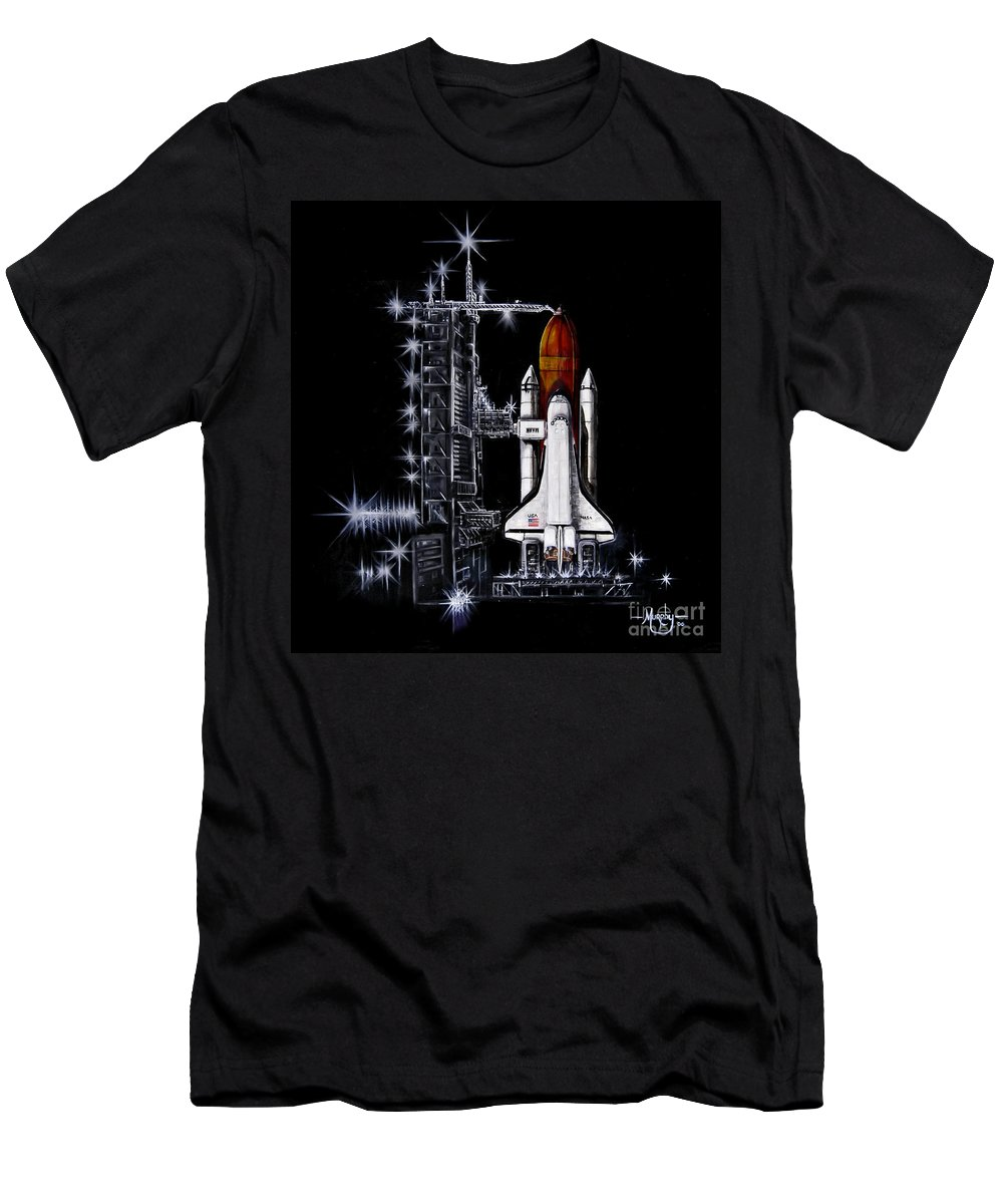 Shuttle Men's T-Shirt (Athletic Fit) featuring the painting The Night Before by Murphy Elliott