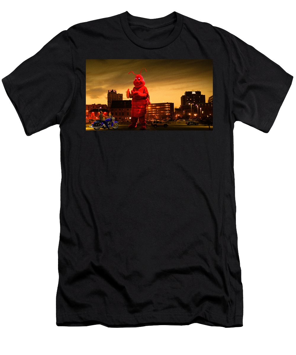 Lobsterman Men's T-Shirt (Athletic Fit) featuring the photograph The Night Of The Lobster Man by Bob Orsillo