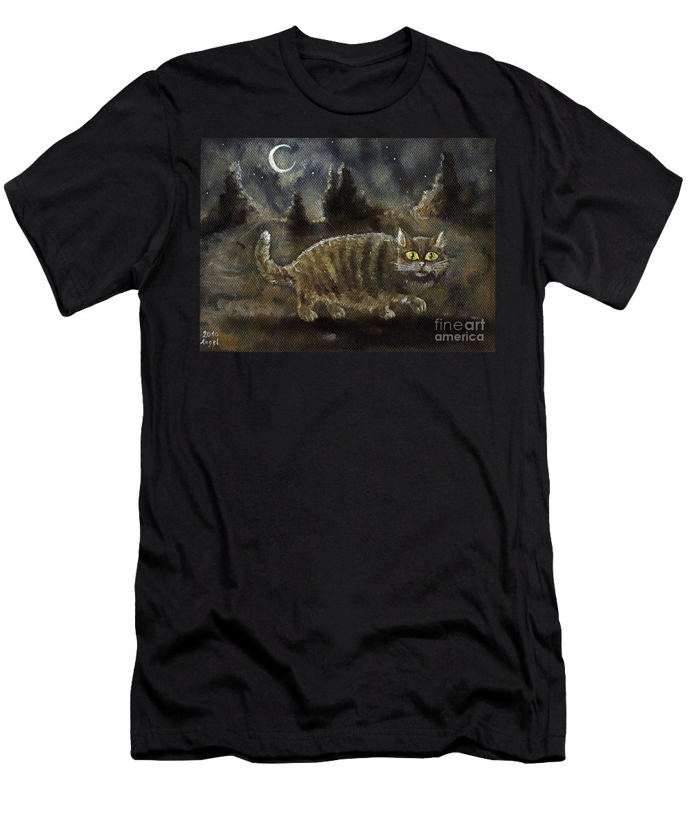 Cat Men's T-Shirt (Athletic Fit) featuring the painting The Night Stalker by Angel Ciesniarska