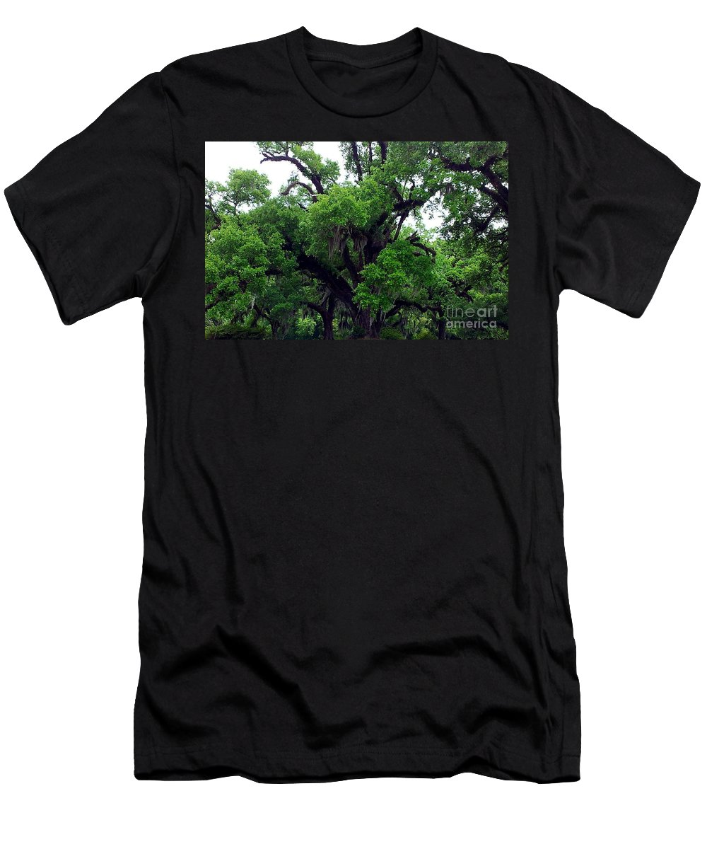Trees Men's T-Shirt (Athletic Fit) featuring the photograph The Oaks by Tina Vaughn