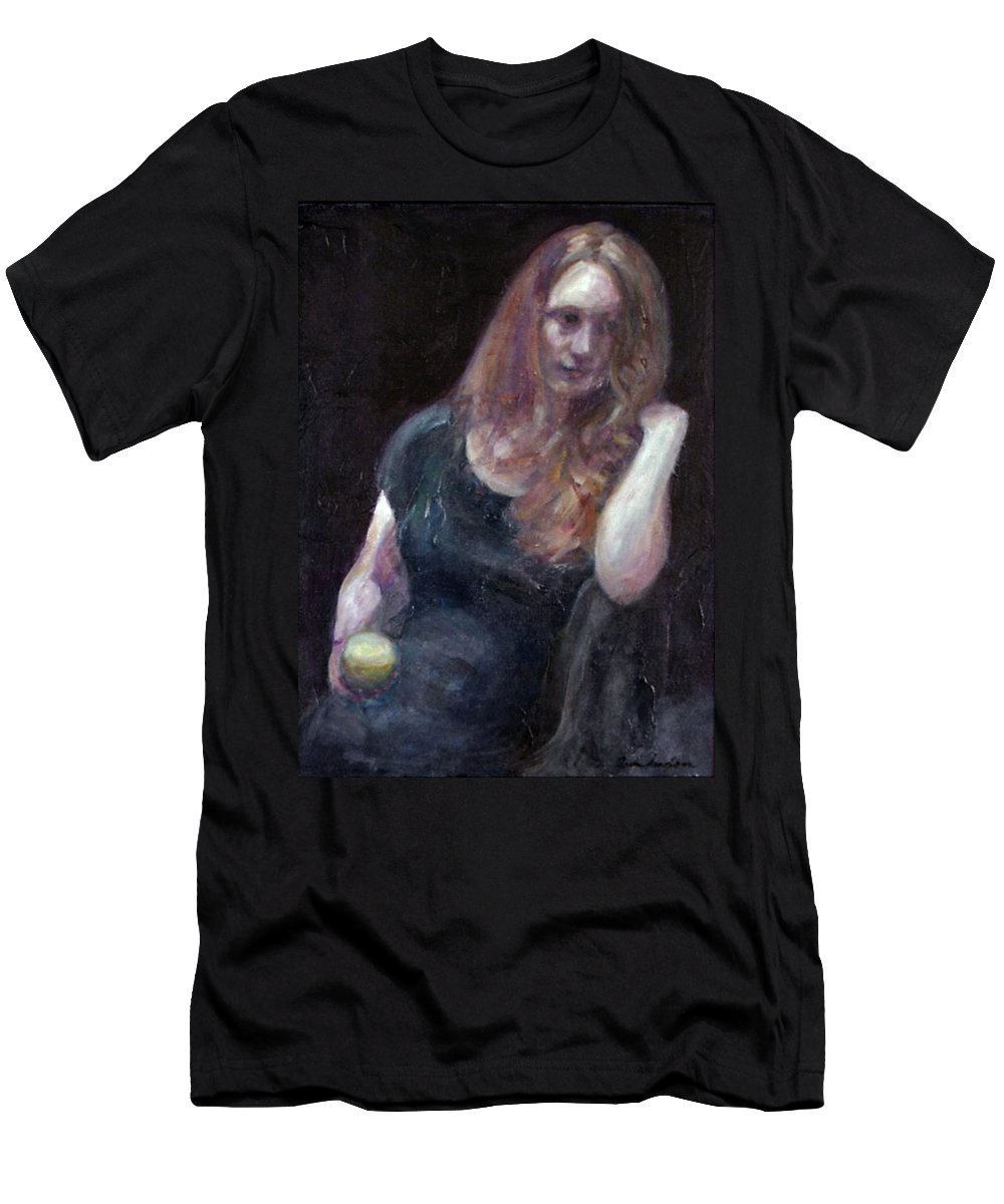 Portrait Men's T-Shirt (Athletic Fit) featuring the painting The Offering - Sale On Original Painting - Framed by Quin Sweetman