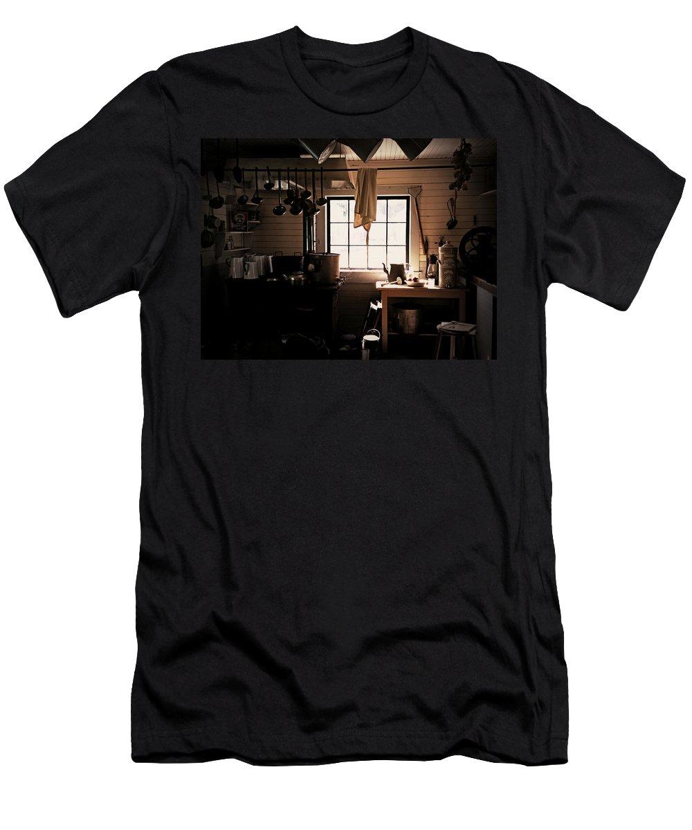 The Old Camp Kitchen Men's T-Shirt (Athletic Fit) featuring the photograph The Old Camp Kitchen by Micki Findlay