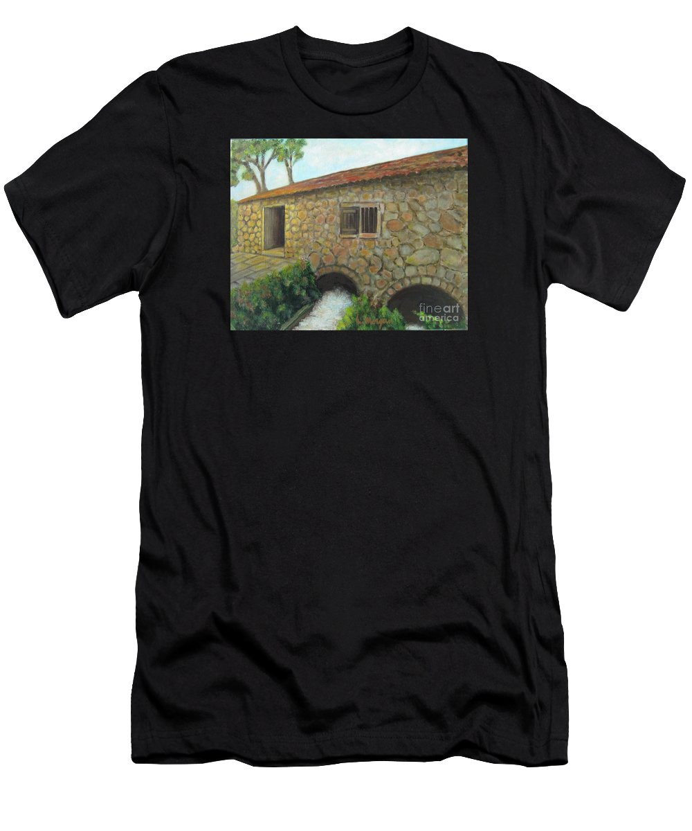 Mill Men's T-Shirt (Athletic Fit) featuring the painting The Old Mill In Dubrovnik by Laurie Morgan