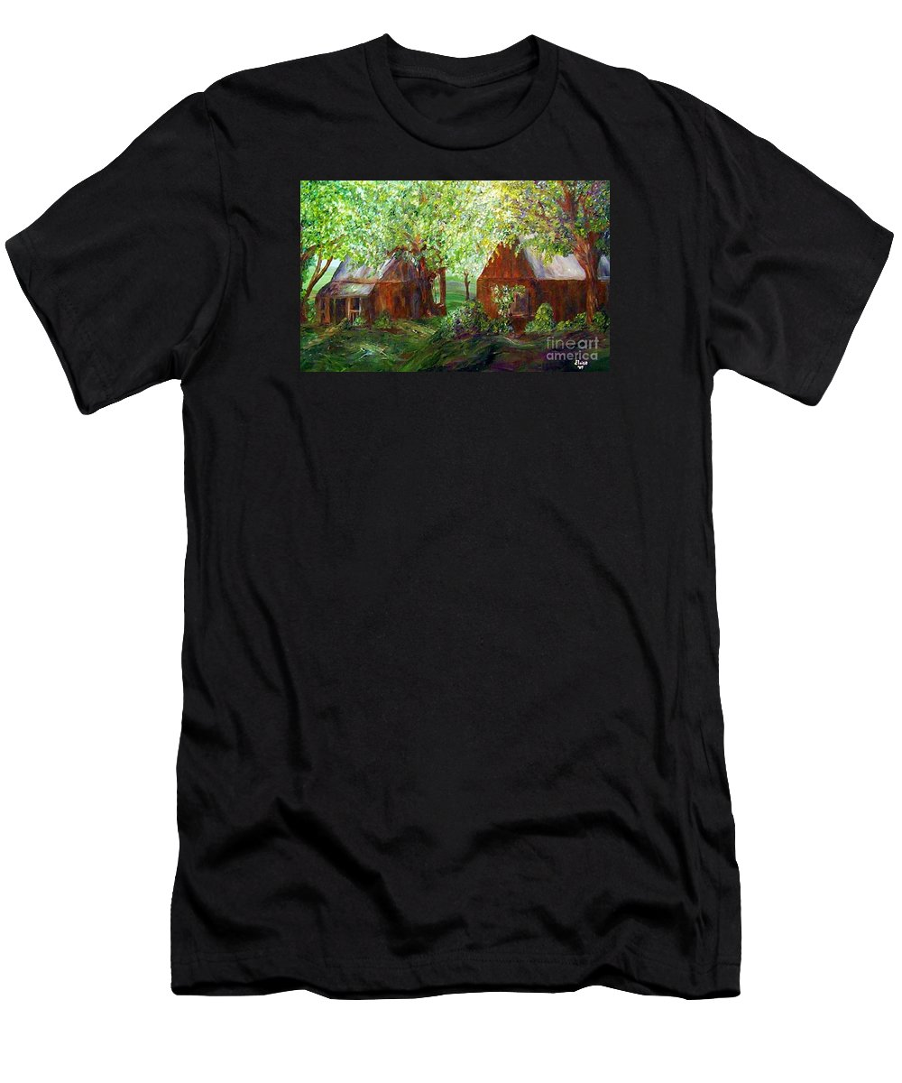Landscape Men's T-Shirt (Athletic Fit) featuring the painting The Old Swing  by Eloise Schneider Mote