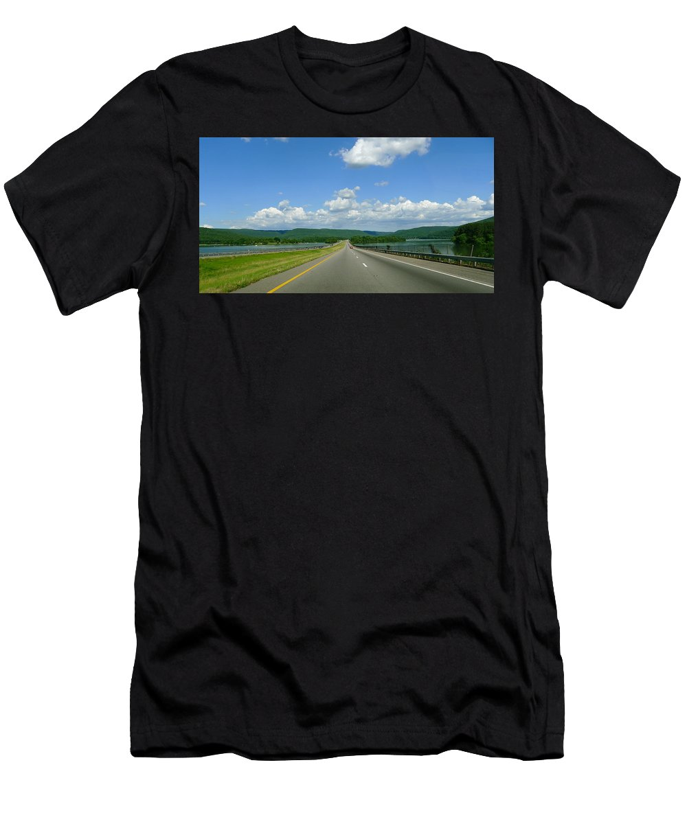 Open Road Men's T-Shirt (Athletic Fit) featuring the photograph The Open Highway by Denise Mazzocco