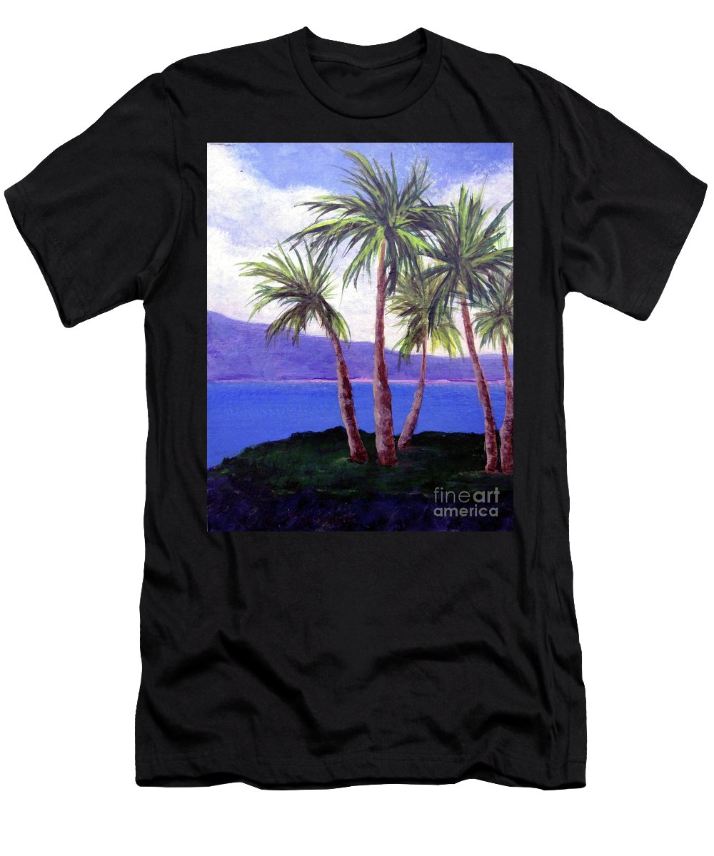 Ocean Men's T-Shirt (Athletic Fit) featuring the painting The Palms by Susan Plenzick