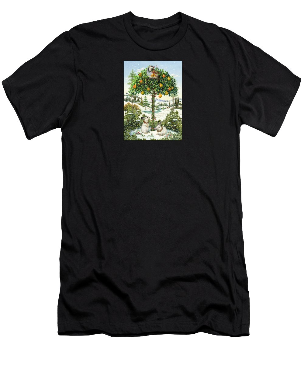 Christmas Men's T-Shirt (Athletic Fit) featuring the painting The Partridge In A Pear Tree by Lynn Bywaters