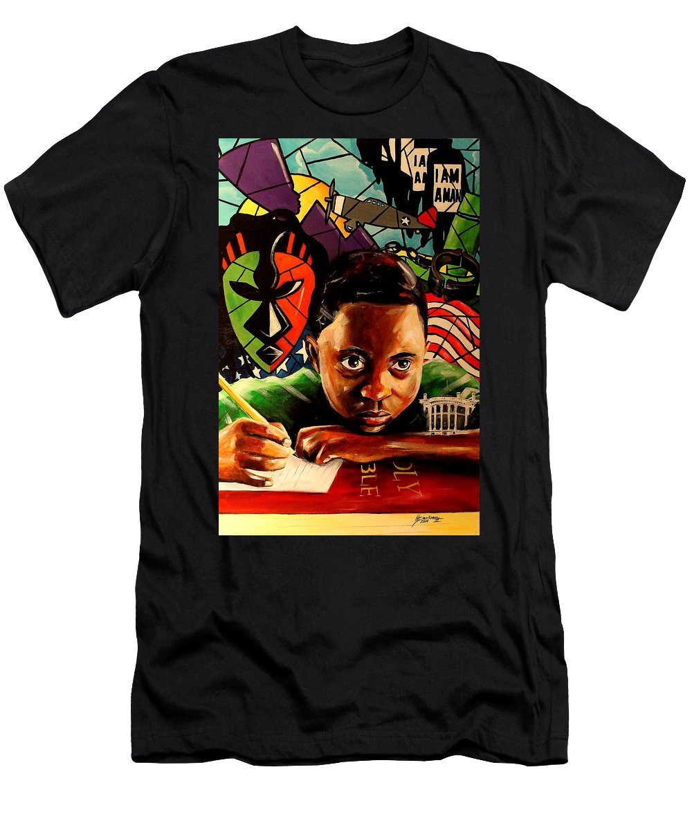 African American Art Men's T-Shirt (Athletic Fit) featuring the painting The Path Forward by Henry Blackmon