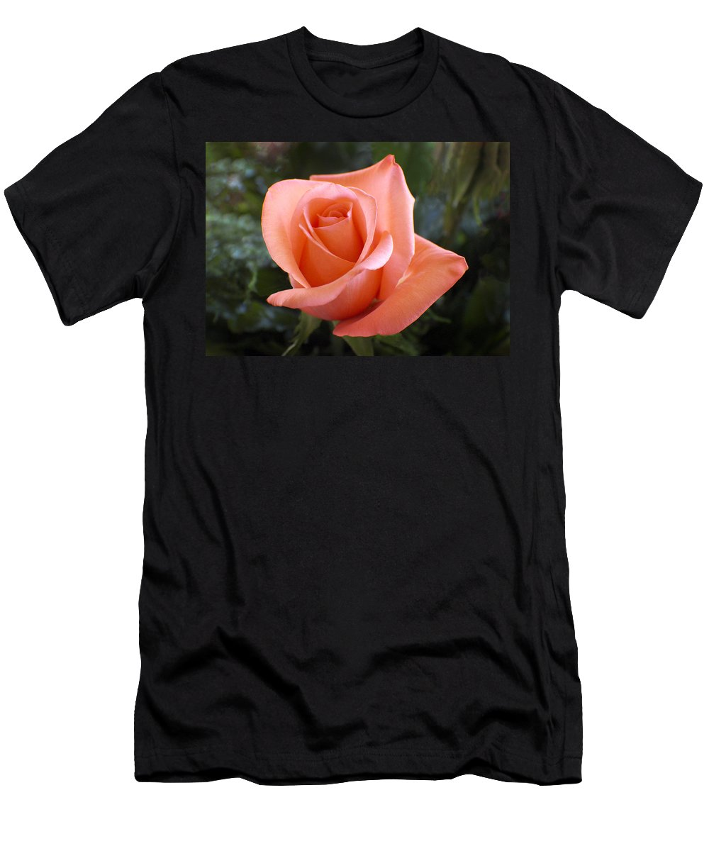 Floral Men's T-Shirt (Athletic Fit) featuring the photograph The Perfect Coral Rose by Kurt Van Wagner