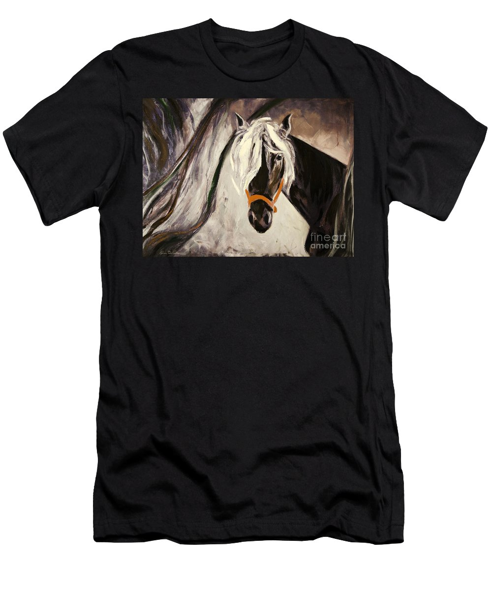 Horses Men's T-Shirt (Athletic Fit) featuring the painting The Performer by Gina De Gorna