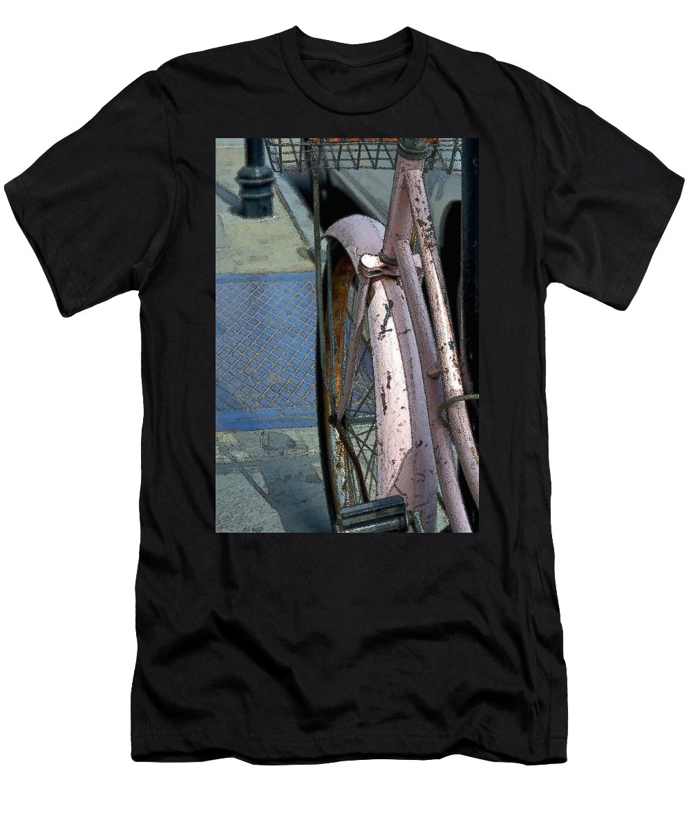 Bicycle Men's T-Shirt (Athletic Fit) featuring the photograph The Pink Bicyclette by Nadalyn Larsen