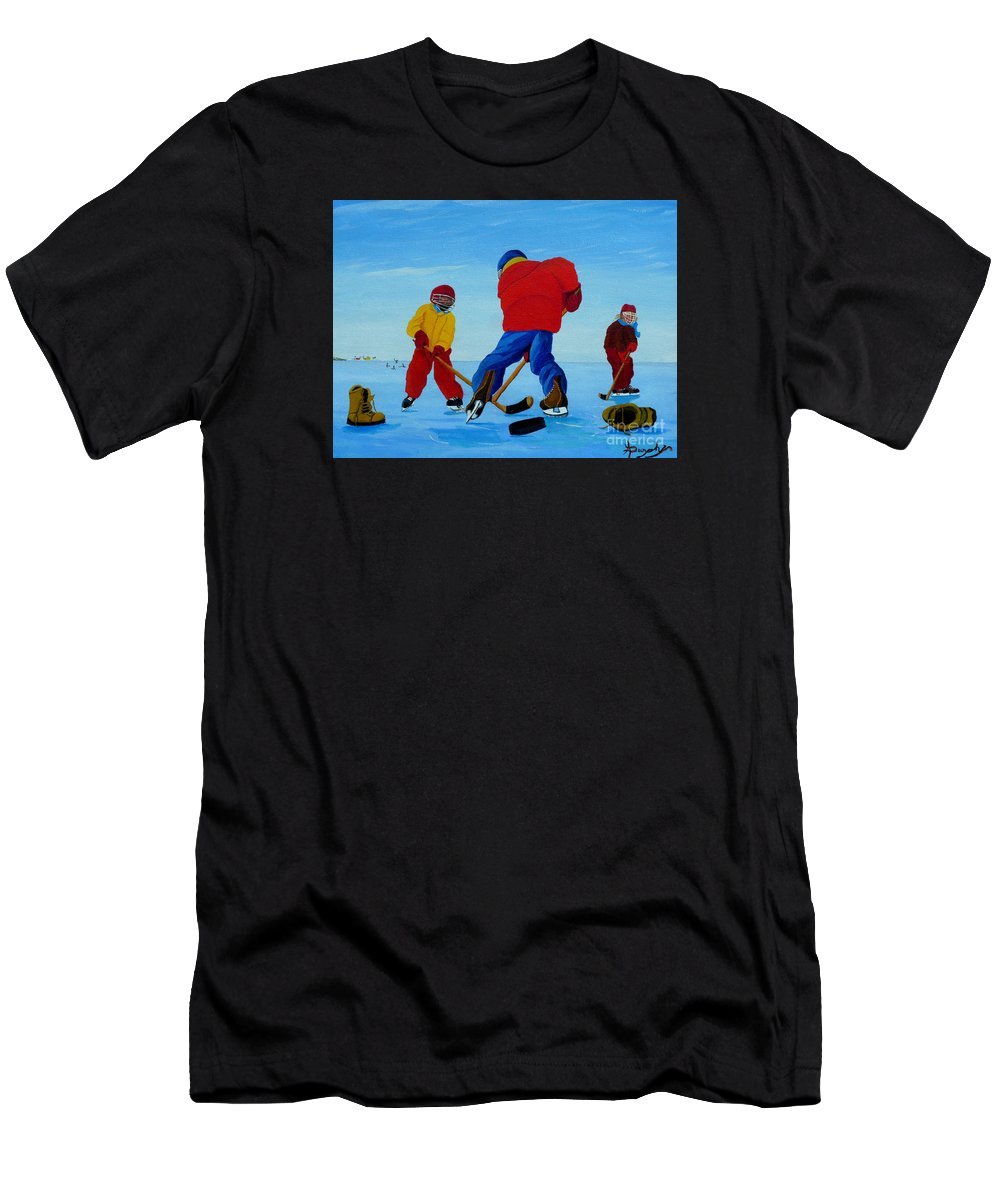 Winter Men's T-Shirt (Athletic Fit) featuring the painting The Pond Hockey Game by Anthony Dunphy