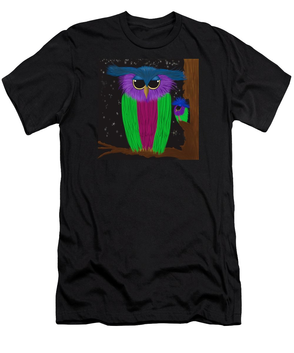 Owl Men's T-Shirt (Athletic Fit) featuring the painting The Prismatic Crested Owl by Michelle Brenmark