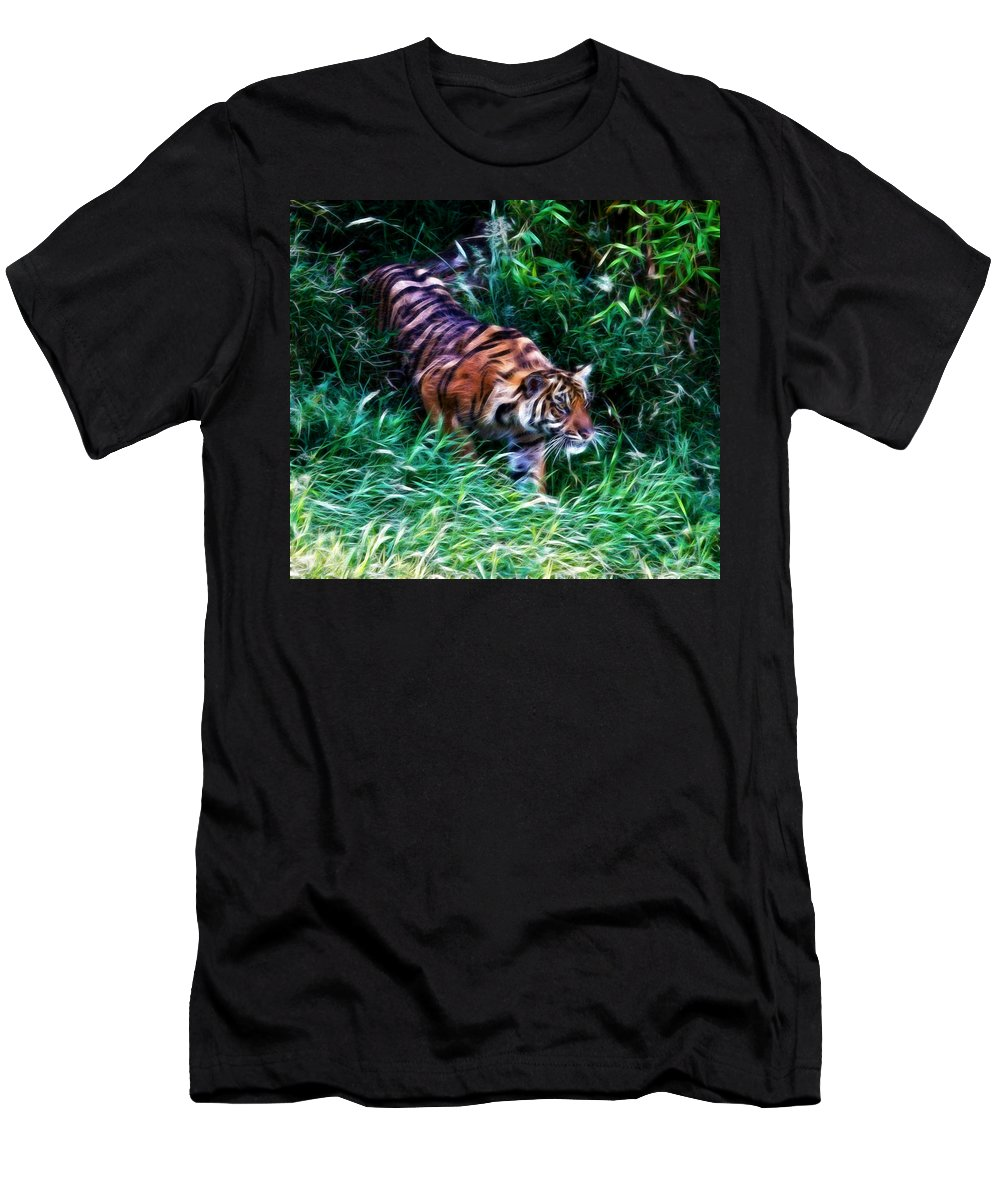 Tiger Men's T-Shirt (Athletic Fit) featuring the photograph The Prowler by Steve McKinzie