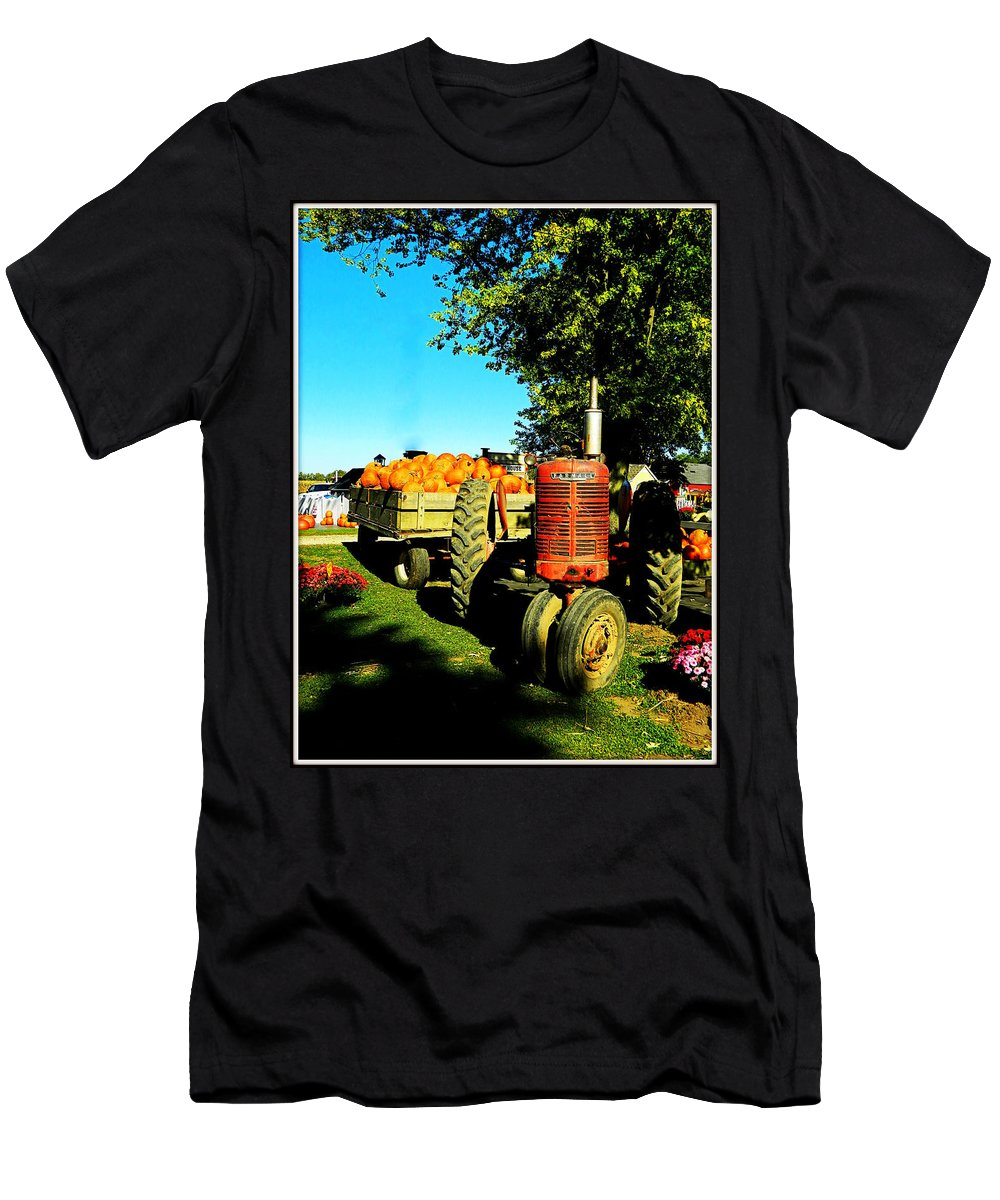 Tractor Men's T-Shirt (Athletic Fit) featuring the photograph The Pumpkins Have Arrived by Kathy Barney