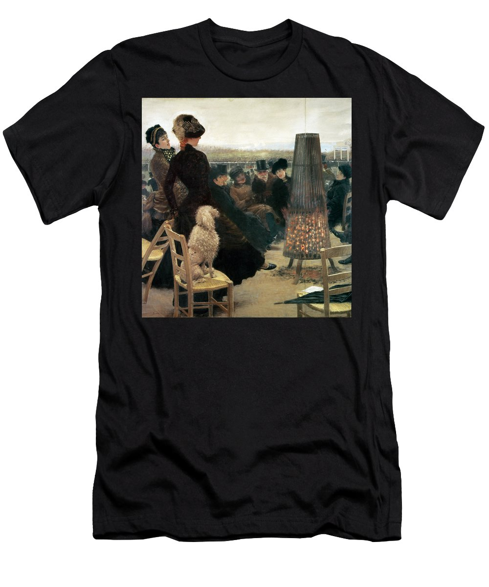 Horse Men's T-Shirt (Athletic Fit) featuring the painting The Races At Auteuil by Giuseppe Nittis