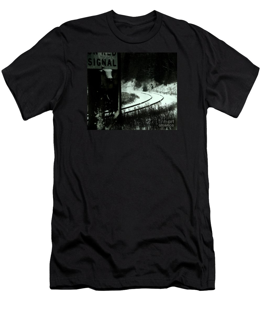 Rail Men's T-Shirt (Athletic Fit) featuring the photograph The Rail To Anywhere by Linda Shafer