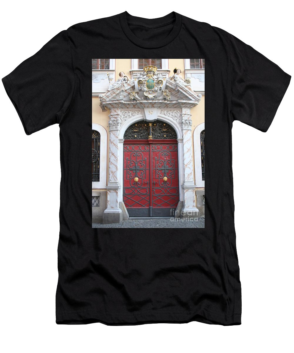 Door Men's T-Shirt (Athletic Fit) featuring the photograph The Red Door by Christiane Schulze Art And Photography
