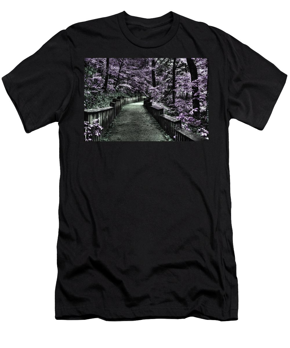 Evie Men's T-Shirt (Athletic Fit) featuring the photograph The Road Less Travelled by Evie Carrier
