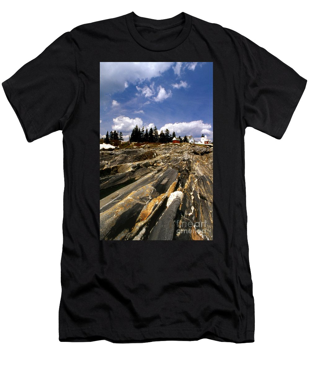 Lighthouses Men's T-Shirt (Athletic Fit) featuring the photograph The Rocks At Pemaquid by Skip Willits
