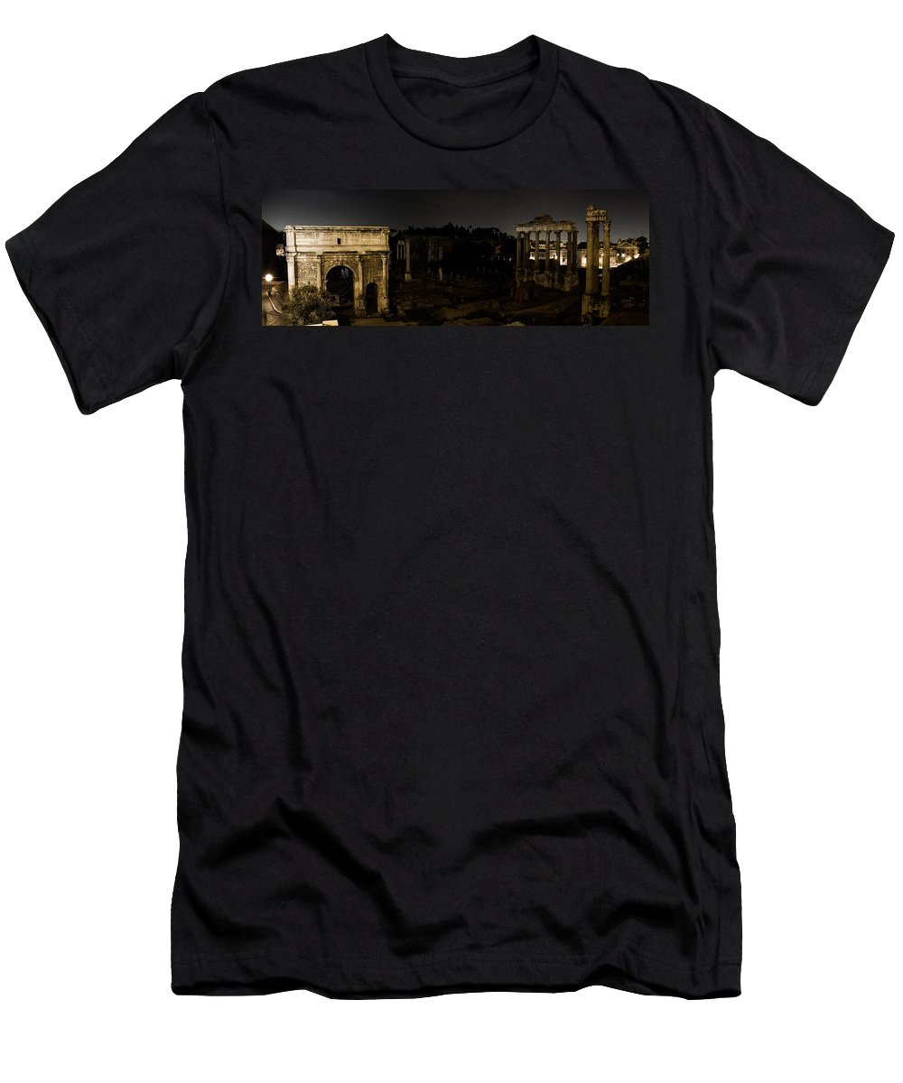 Roman Forum Men's T-Shirt (Athletic Fit) featuring the photograph The Roman Forum At Night by Weston Westmoreland