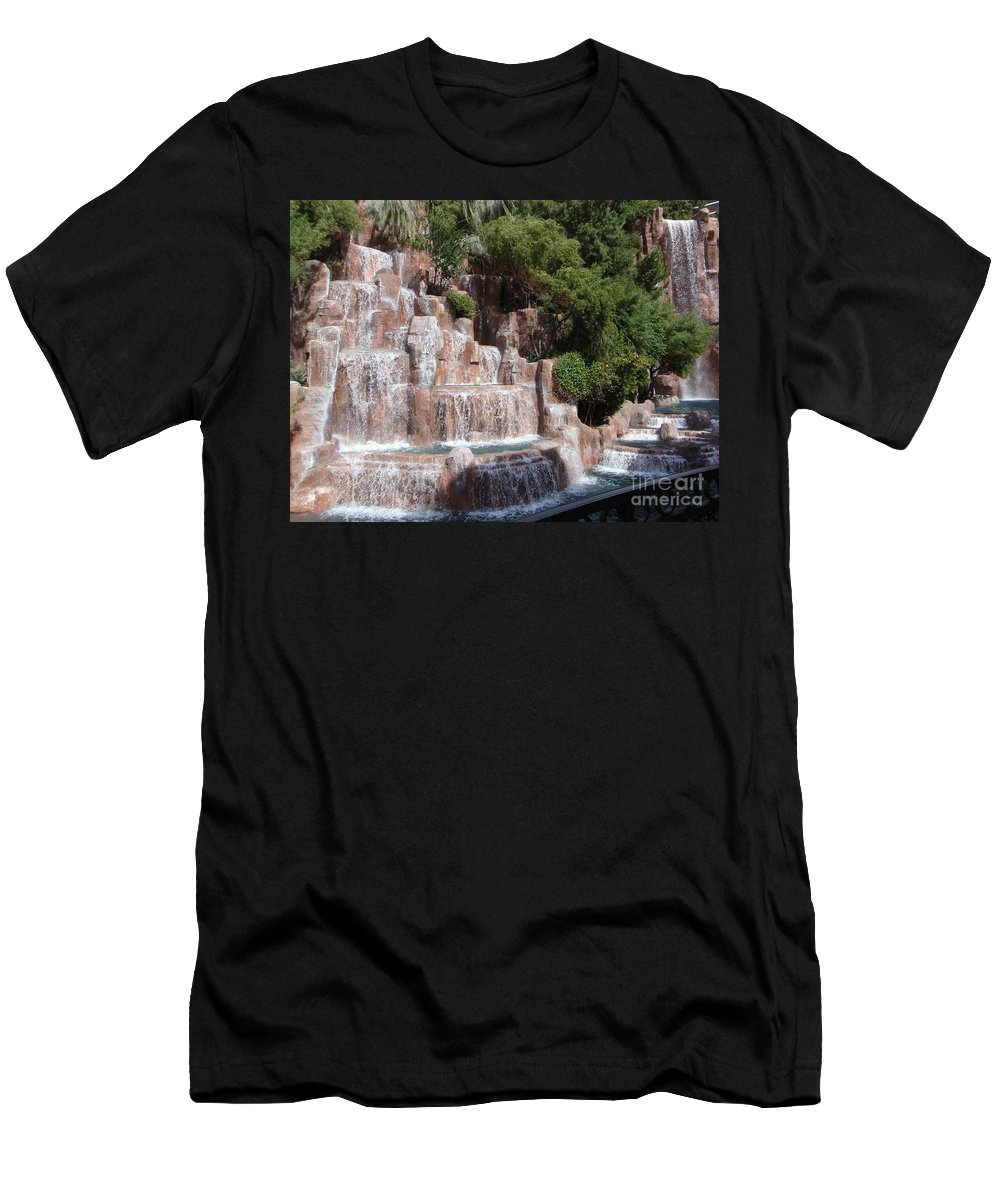 Waterfalls Men's T-Shirt (Athletic Fit) featuring the photograph The Rush Of Water by Mary Deal