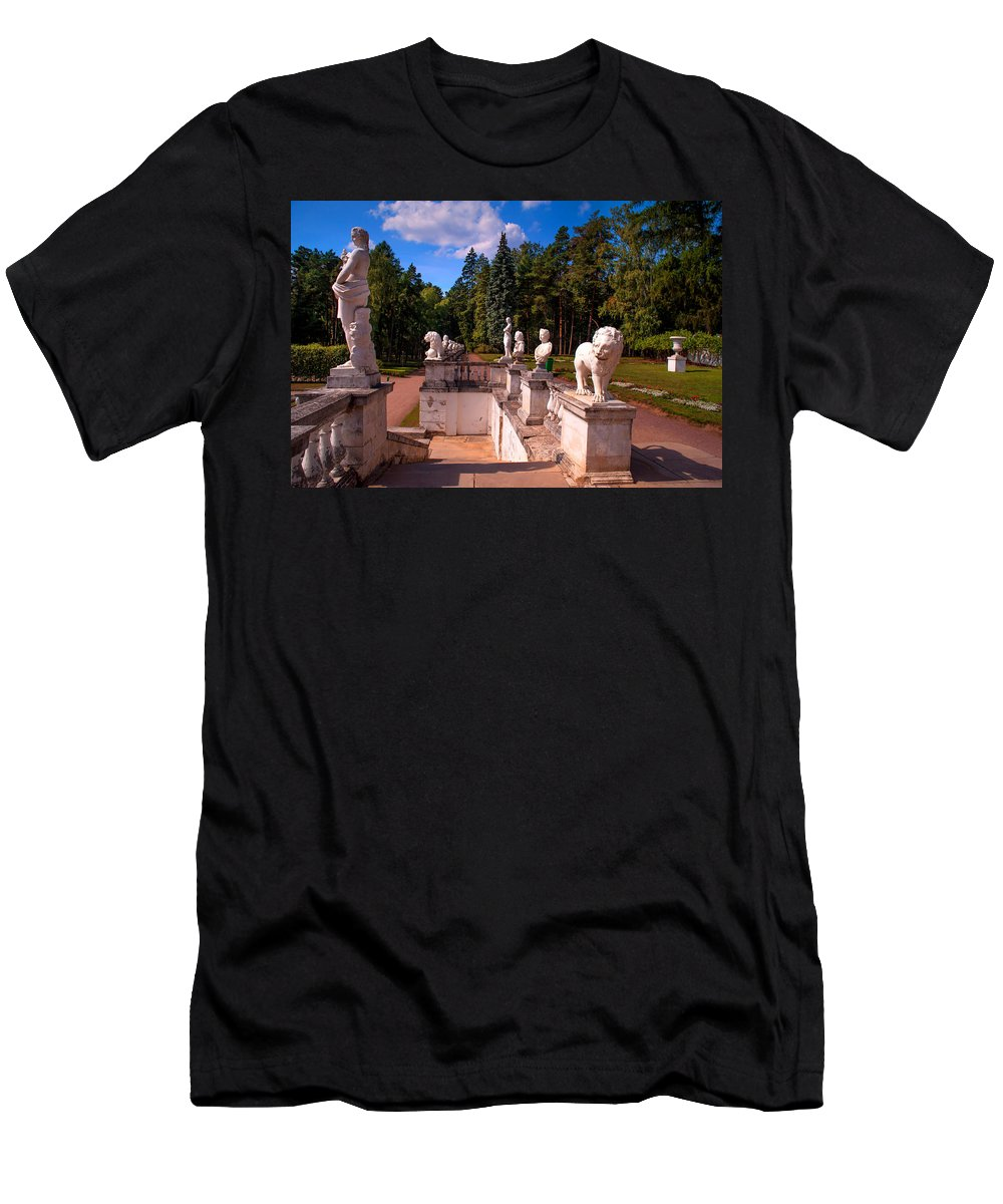 Archangelskoe Men's T-Shirt (Athletic Fit) featuring the photograph The Satutues Of Archangelskoe Palace. Russia by Jenny Rainbow
