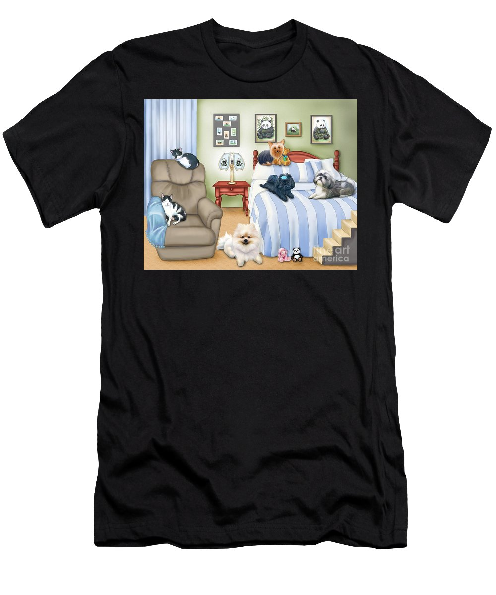 Pomeranian Men's T-Shirt (Athletic Fit) featuring the mixed media The Schofield S Bedroom by Catia Lee